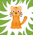 Cartoon cat looks like tiger in frame of jungle vector image