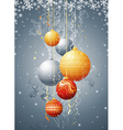 silver card with christmas balls vector image