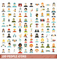100 people icons set flat style vector image vector image
