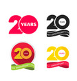 20 years anniversary logo icon or 20th year vector image vector image