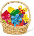 basket full gifts vector image
