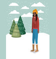 black woman in snowscape with winter clothes vector image vector image
