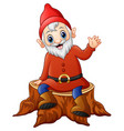 cartoon dwarf sitting on tree stump vector image vector image