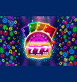casino slots neon icons golden slot sign machine vector image