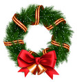 christmas wreath isolated vector image vector image