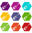 classical electric guitar icon set color vector image vector image