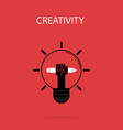 creative bulb light idea and pencil hand iconflat vector image