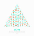 creative concept in triangle with thin line icons vector image vector image