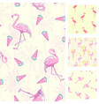 cute set of pink flamingo tropical vibes seamless vector image vector image
