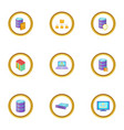 data transfer icons set cartoon style vector image vector image