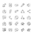 doodle icons set communication vector image vector image