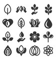 eco organic icons set on white background vector image