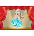 Girl in princess costume on stage vector image vector image