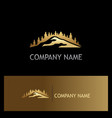 gold pine tree mountain logo vector image vector image