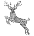 Hand drawn magic horned deer with birds for adult vector image