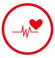 heart pulse signal rounded icon vector image