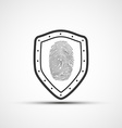 icons metal shield with the fingerprint vector image vector image