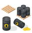 isometric oil barrels vector image