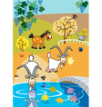 landscape with goats vector image vector image