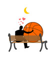lover basketball guy and ball sitting on bench vector image vector image