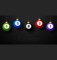 merry christmas billiard greeting card hang vector image vector image