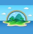 paper tropic island sea tropical scenery vector image vector image