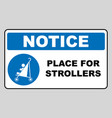 place for strollers sign blue mandatory icon vector image vector image