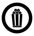 popcorn icon black color simple image vector image