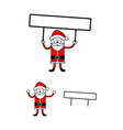 santa claus holding editable blank sign vector image vector image