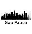 Sao Paulo City skyline black and white silhouette vector image vector image