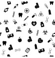 seamless pattern with medical icons in flat vector image vector image