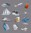 set images for traveling and resort vector image vector image
