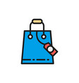 shopping bag with discount tag flat color line vector image