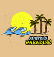 surfing surf themed hand drawn traditional old vector image vector image