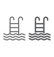 swimming pool line and glyph icon water and sport vector image