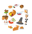 thanksgiving day cartoon icons vector image