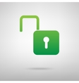 Unlock sign Green icon vector image