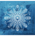 white snowflake on watercolor blue background vector image