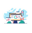 workplace with laptop and open websites vector image