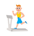young man running on treadmill training in gym vector image vector image