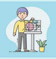 zoo shop concept young boy have bought a hamster vector image vector image