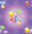 seamless pattern with colorful balloons on purple vector image