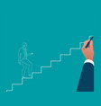 businessman hand drawing career ladder concept vector image