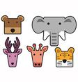 Animal head cartoon rectangle vector image vector image