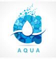 aqua drop a letter logo vector image