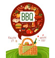 bbq picnic flat invitation poster vector image vector image