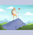 camping characters hiking background people vector image vector image