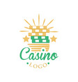 casino and card poker logo vintage gambling badge vector image vector image