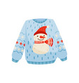 christmas sweater with cute snowman knitted warm vector image