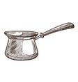 coffee pot with handle turkish cezve monochrome vector image